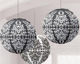 Set Of 3 Beautiful Black And White Damask Paper Lanterns - Wedding - Anniverary - Birthday - All Occasion Party Decor