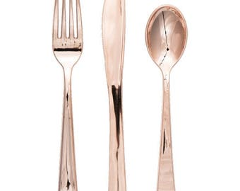 Premium Plastic Cutlery Shiny Rose Gold  - Wedding - Shower - Party - All Occasion - Rosegold - flateware - Utensils - Service For 24