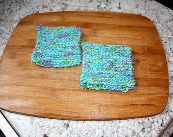 Knit Dish Scrubbie Set of 2, Green Dish Scrubbie, Blue Dish Scrubbie, Knit Dish Cloth Scrubbie, Purple