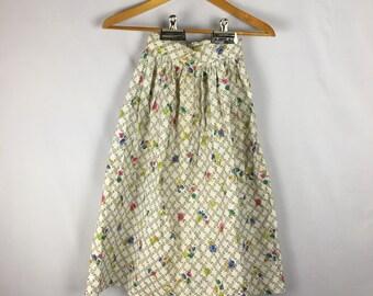 Vtg 50s Floral Skirt XS High Waist Gold Metallic Novelty Print