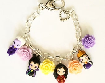 Villain bracelet inspired , clay charm , Maleficent, ,Ursula, Evil Queen ,Mother Gotel. Disney inpired Clay charm.