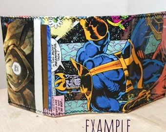 Custom wallet - recycled comic book wallet - slim wallet - hanmade wallet - card holder - thin wallet - vinyl wallet - men's wallet