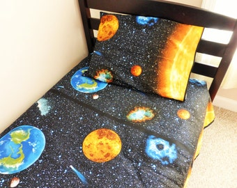 Space Twin Sheet Set, Space sheets, Space Bedding, Space Twin Bedding, Space Quilt, Solar System Bedding, Solar System sheets, Kids Bedding