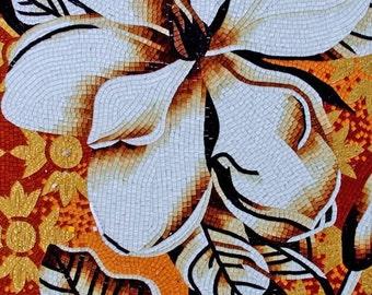 White Flower Glass Mosaic Tiles