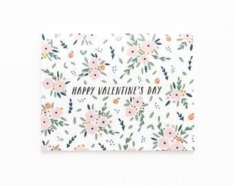 Valentine's Day Bouquet Card, Valentine's Day Flowers, Valentine's Day Card