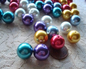 "14mm Big Glass Pearls. 20pc (16.5"" strand) or Mix 6 Colors x 4pcs ea! *Beautiful, *Bright, *Festive Pearl Beads. ~USPS Ship Rates/Oregon"