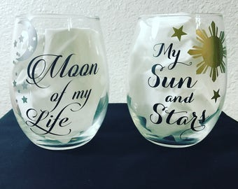 Game of thrones inspired wine glasses, moon and stars, khal drogo and daenerys love quotes, any theme available