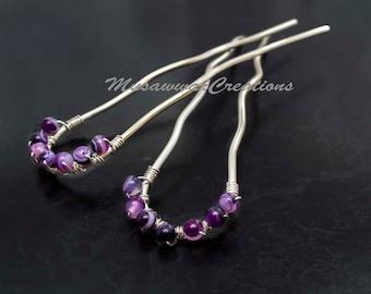 Two Silver plated Hair forks,dark purple agates ,hair bun picks, heavy duty Hair bun Sticks-Handmade Hair Accessories