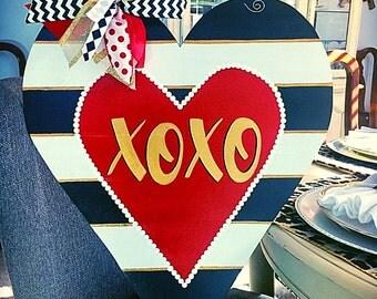 Valentine Door Hanger, Valentine Wreath, Black and White Striped Valentine Decor