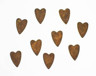 Rusty Tin Hearts - Primitive Rustic Metal Hearts