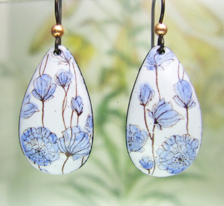 Delft Blue Floral Enamel Earrings Copper Enamel Jewelry