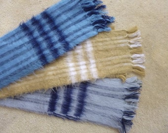 Vintage Scarf Fuzzy Acrylic Warm Winter Wrap Made in Guatemala Unisex Choice of Color