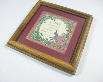 Vintage Religious Love Art, Corinthians Poem Quote Framed Art, Floral Birds Scene, Corinthians Prayer Framed Art