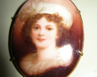 Antique Portrait Brooch of Lovely Lady in Hat, Porcelain on Brass circa 1900