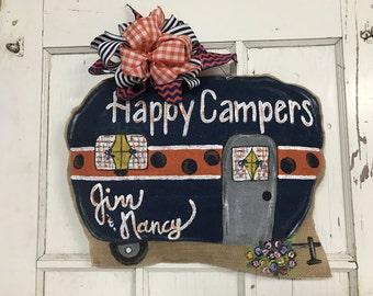 Happy Camper Burlap Door Hanger