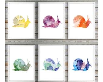 Snail Art - snail Watercolor Painting  - Wall Art set of 6 Prints - Home decor - Slack Fantasy Animal Painting - Snail silhouette Nursery