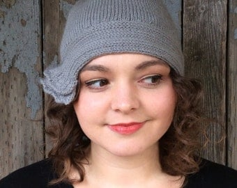 Silvery Grey Knitted Flapper Hat