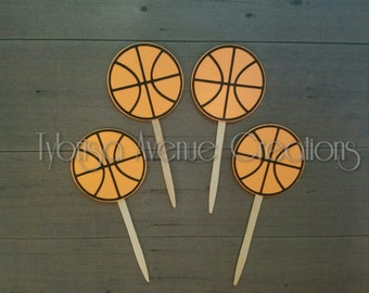 12 Basketball Cupcake Toppers - Basketball Party Cupcake Toppers - End of Season Basketball Party - Basketball Birthday Cupcake Toppers