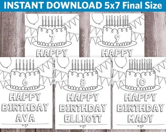 Birthday Coloring Pages / Personalized / Custom Coloring Page