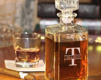 Whiskey Decanter with Block Name and Initial (e101-1208-2) - Free Personalization