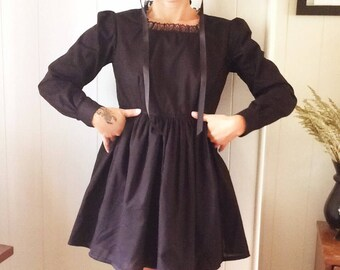 Handmaidens Dress- black cotton babydoll