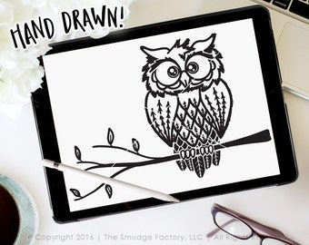 Owl SVG Cut File, Woodland Animal Cut File, Hoot Owl Vector, Hand Drawn Owl Graphic, Silhouette SVG, Owl On A Branch Graphic Overlay