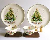 Two Vintage 'Christmas Eve' Viktor Schreckengost Snack Sets, Salem China Co, Vintage Christmas, Christmas Tea Sets, Christmas Snack Sets
