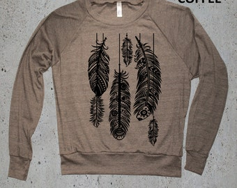 Native American Clothing,Tribal Feathers Sweatshirt American Apparel Tri-Blend Sweater S M L (Multiple Colors Available )