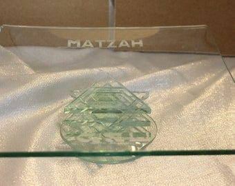Vintage Etched Glass Matzah Plate with Star of David stacked Base
