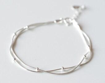 Wedding Women's Simple 925 Sterling Silver Bracelet Chain