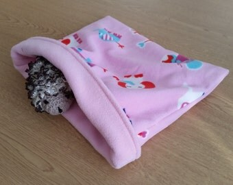 READY TO SHIP! Pink Elephants Fleece Snuggle Sack for Hedgehogs/Rats/Guinea Pigs/Rabbits/Sugar Gliders