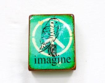 "Vintage Turquoise ""Spirit Owl"" Imagine-Wisdom Owl, Verdigris,SpiritAnimal,Wild, Handpainted, high gloss resin coat, solid, light block wood."