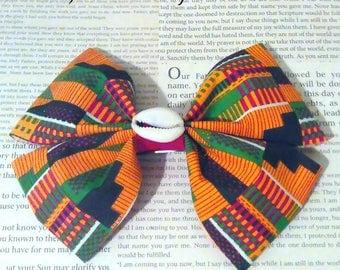 Kente Print Ribbon Hair Bow/Hair clip MADE TO ORDER