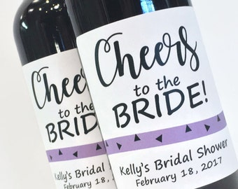 Cheers to the Bride Bridal Shower Favor or Bachelorette Favor, Mini Wine or Champagne Labels, Custom mini wine bottle lables