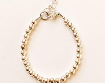 Silver 4mm Beaded Bracelet