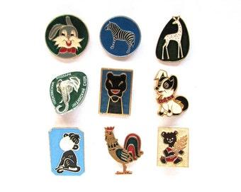 Animals, Children's badges, Pick from set, Zebra, Dog, Hare, Fauna, Vintage collectible badge, Soviet Vintage Pin, Soviet Union, USSR