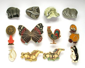 Animals, Children's badges, Pick from set, Horse, Lion, Fish, Mole, Fauna, Vintage collectible badge, Soviet Vintage Pin, Soviet Union, USSR