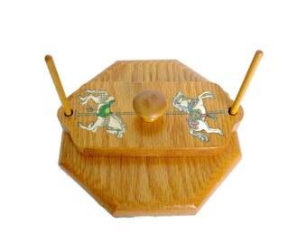 Wooden Napkin Holder, Vintage Wood Napkin Holder, Carousel Decor, Carousel  Horse Home Decor