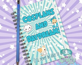 Cosplans and Daydreams (I'll never be able to afford) - Hand made, wire bound 200 page notebook jotter and custom pencil