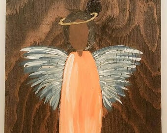 Earth Angel my Guardian Dear, hand painted Angels, Personalised Guardian Angel, Memorial, peach blue black hair