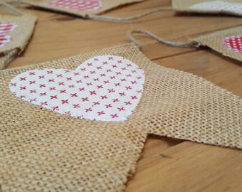 Burlap and fabric heart bunting. Homespun bunting