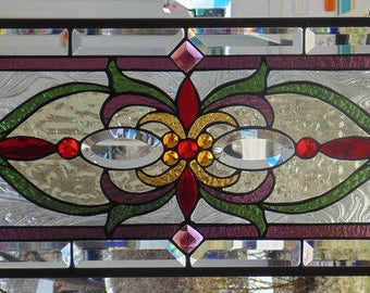Stained Glass Window Hanging 35 1/2 X 12 1/2