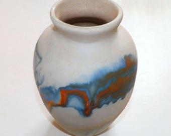 "Vintage Nemadji vase planter Native American clay Pottery Blue Orange White Swirl Collection Art sculpture 7"""