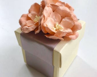 Peach Magnolia Flower & Cream Favour/Favor Boxes