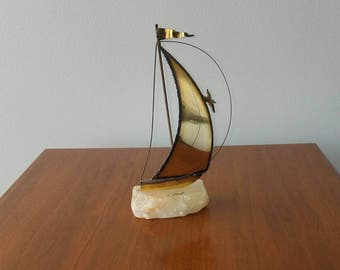 Mid Century Brass Sail Boat Sculpture signed