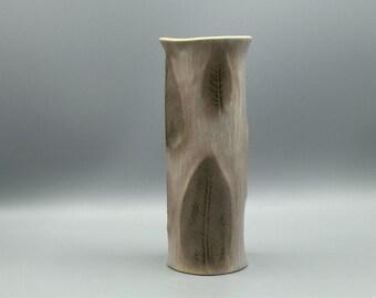 Tirschenreuth bark decor, beige grey  bisque  porselain Vase 1980s West Germany.