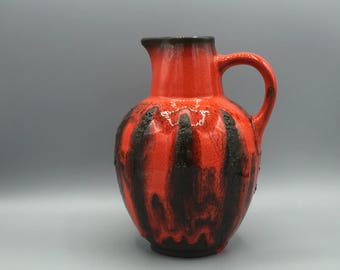 "Ruscha ,,Costa""  vase Red / black 1970s Vintage Mid-Century Modern Pottery West Germany.  WGP."