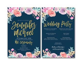 Floral Wedding Programs, Order of Ceremony Programs, Wedding Ceremony Programs, Wedding Programs, Watercolor Wedding Programs #CL321