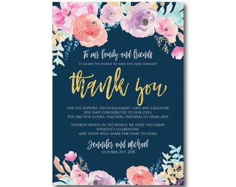 Floral Wedding Thank You Note, Watercolor Wedding, Watercolor Floral, Gold Glitter, Thank You Note, Wedding Thanks, Thank You Card #CL321