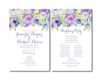 Floral Wedding Programs, Floral Wedding, Watercolor Flowers, Watercolor Floral, Floral Programs, Ceremony Program, Order of Service #CL330